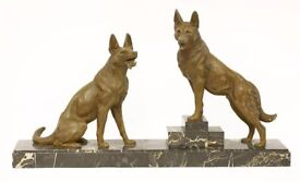 Art Deco spelter group of two Alsatians,raised on a black marble plinth base, circa 1930s