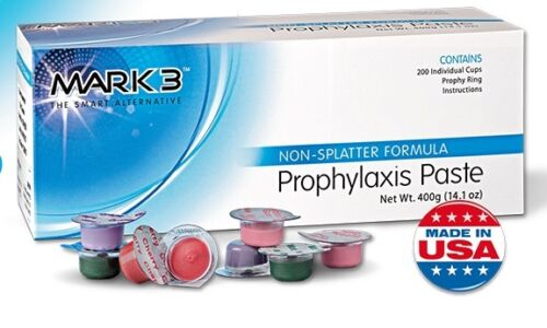 8 Boxes - Dental Prophy Paste 1600 cups Prophylaxis Non Splatter Mark3