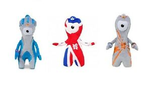 Set-of-3-20cm-2012-Olympic-Mascot-Soft-Toys-Union-Jack-Wenlock-and-Mandeville