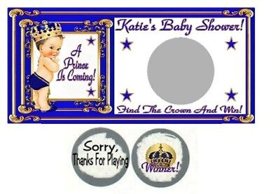 10 Blonde Royal Prince Baby Shower Birthday Party Scratch Off Game Blue Gold](Royal Prince Baby Shower)