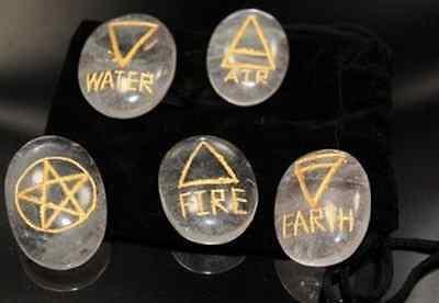 4 Elemente magische Akasha Steine XL graviert Edelsteine Bergkristall Energie