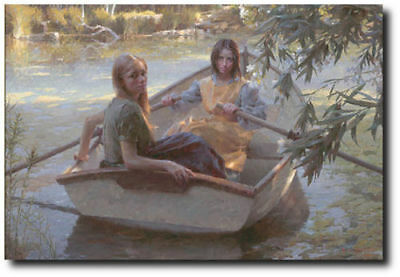 Serenity by Morgan Weistling - Young Girls - Row Boat - Canvas Art