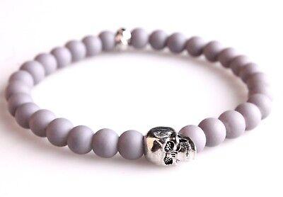 "6"" Ed Jacobs Matte Gray rubber Beaded Silver Skull Fashion Bracelet NWT"