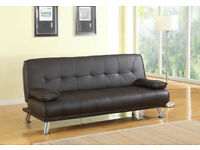 Stunning 3 Seat Designer Sofa Bed Faux Leather Chrome Dark Brown