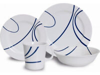 Quest Swirl Melamine Dinner Set Outdoor Camping Tableware White/Blue | 16 Piece