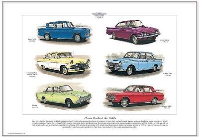 CLASSIC FORDS of the 60s - Fine Art Print A3 size - Anglia Cortina Corsair Capri