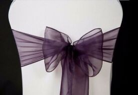 200 purple ORGANZA SASHES CHAIR COVER BOW SASH