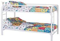 double and single bunk beds with mattress and ladder