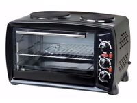 Brand New Portable Electric 26L Mini Oven Grill with Double Hob Hotplate Ring Table Top Cooker