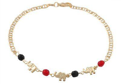 Elephant Ankle Bracelet Gold Filled with Red & Black Stones 10 inch Long  # (3 Black 10 Bracelet)