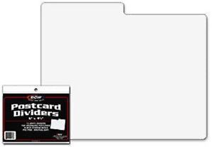 100-BCW-White-Postcard-Dividers-Tabbed-Archival-Safe-For-Indexing-and-Storage