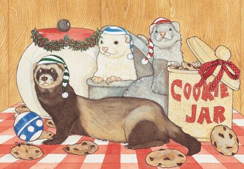 Ferret Cookie Jar Christmas Cards Set of 10 cards & 10 envelopes