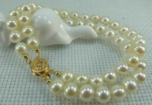 2 ROWS AAA 6-7MM NATURAL AKOYA  WHITE PEARL BRACELET 14k CLASP 7.5-8 INCH