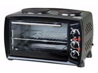 Brand New Table Top Electric 26L Mini Oven Grill with Double Hob Hotplate Ring Portable Cooker