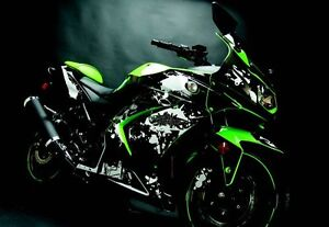Flu Designs Kawasaki Graffiti Sport Bike Graphic Kit Black/White Ninja 250 08-12