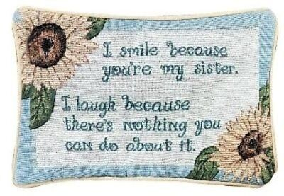 (NWT Made in USA  12.5 x 8.5-Inch Decorative Throw Pillow, I Smile I Laugh Sister)