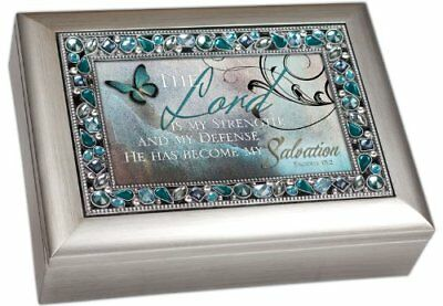 129284 Music Box – Lord Is My Strength & How Great Thou Art-Teal Jeweled