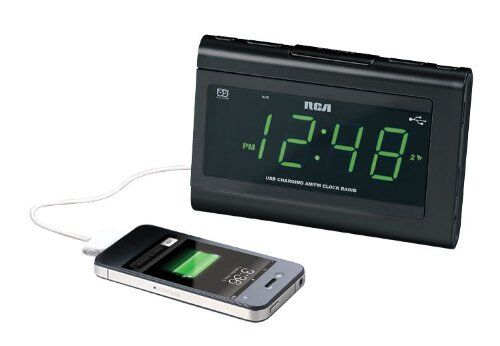 New LED Dual Alarm Clock FM Radio AUX-IN Battery Back-Up System USB Charger