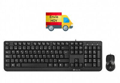 COMBO NUEVO NGS TECLADO Y RATON CON CABLE USB PC ORDENADOR ESPAÑOL...