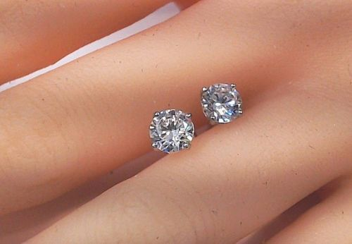 0.50 Ct Diamond Stud Earrings D/VVS1 Women's Solitaire Earrings 14k White Gold 1