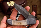 Damascus Steel Blade Tanto Collectible Folding Knives