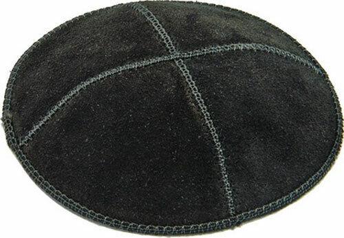 Jewish Kippah - Black Leather Suede Kipa
