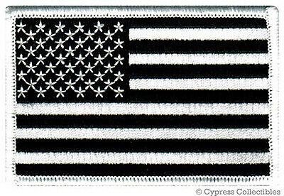 AMERICAN FLAG EMBROIDERED PATCH BLACK WHITE USA US w/ VELCRO