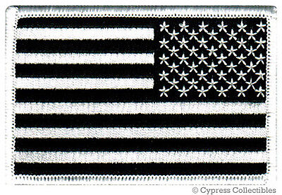 AMERICAN FLAG EMBROIDERED PATCH iron-on BLACK WHITE US REVER