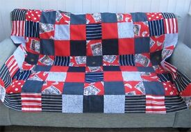 HOMEMADE PATCHWORK THROW - MARTINI AHOY £20 Blue, Red - Ideal for Sofa or Bed