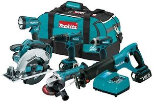 MAKITA 18V LITHIUM ION CORDLESS 6 TOOL COMBO KIT LXT702 LXT601