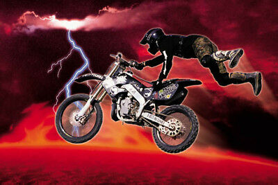 Motocross Dirt Bike Flying Jump Red Lava Lightning 24x36 Poster Print