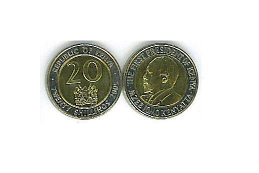 KENYA: 4-PIECE UNCIRCULATED COIN SET, 0.50 TO 20 SHILLINGS