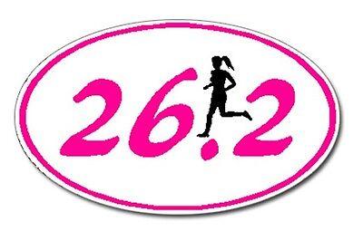 (26.2 Marathon GIRL Runner Euro Oval Car Decal / Sticker)