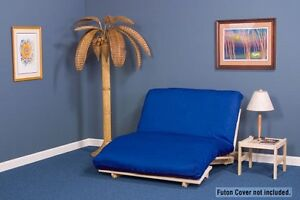 tri fold futon lounger package includes hardwood frame