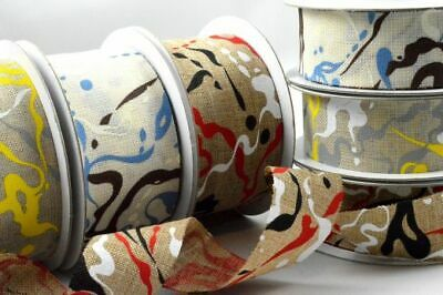 🌼 Yellow and Blue Paint Splash Ribbon 38mm - Blue And Yellow Ribbon
