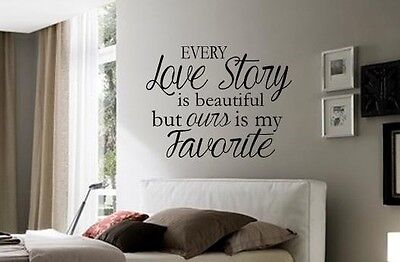 - LOVE STORY Romantic Marriage Wall Art Decal Quote Words Lettering Decor Design