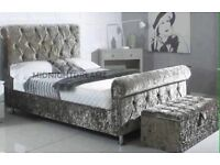 VELVET SLEIGH BED