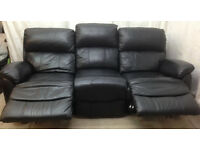 very good condition Black leather 3 seater recliner sofa