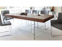 ARIA ESPRESSO DARK WOOD AND GLASS DINING TABLE