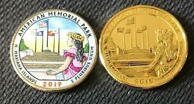 24k Layered (2019 P COLORIZED & 24K GOLD LAYERED AMERICAN MEMORIAL PARK 2 COIN QUARTER SET )