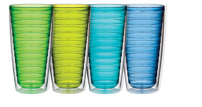 Insulated 24-Ounce Plastic Tumblers, Marine Collection Set o