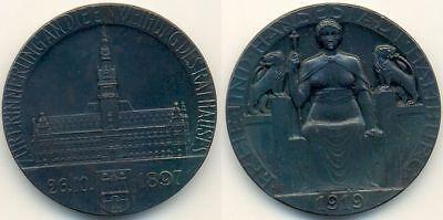 Hamburg 1919 Medaille Erinnerung an die Weihung des Rathauses 1897, Portugalöser