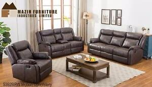 2PC RECLINING SOFA AND CHAIR MODEL 9392 IN A BLACK OR BROWN GEL LEATHER-MATCH $1,289.00 SAVE $510