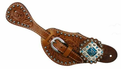 Showman Ladies Tooled Leather Spur Straps w/Diamond Shape Blue Rhinestone Concho