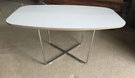 white design coffee table with chrome legs