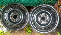 Pair of 15 inch rims, 4 by 4.5 inch bolt pattern