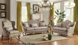 FAUX SILK TRADITIONAL SOFA SET (MA369)