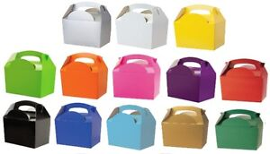 10-x-Childrens-Kids-Plain-Coloured-Carry-Food-Meal-Birthday-Party-Loot-Bag-Boxes