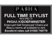 Full time hairdresser required at PASHA Kidderminster