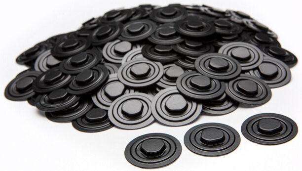 200-Pak Plastic CD/DVD HUBS with Self-Adhesive Back (black)